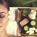 Body care. Spa body massage treatment. The girl relaxes in the s
